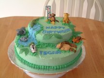 Jungle Cake - for my nephew. Was the first one of these I did with the little fondant animals. I've made a few of these now.