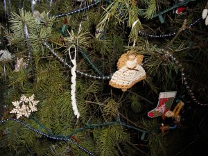 clothespin angel ornament, thread icicle, cross-stitch stocking