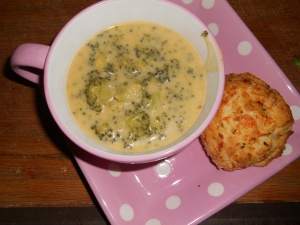 Broccoli Cheese Soup and Cheddar Bay Biscuits