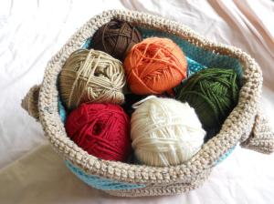 stash basket of yarn