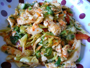 asian chicken salad with sesame chili vinaigrette