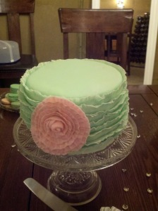 Wedding Cake - fondant ruffles and fondant flower.