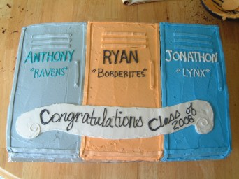 Graduation Cake - Three boys in the family graduated the same year so we had a big party for all of them. Supposed to be lockers in their school colors.