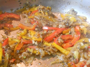 peppers, onions, garlic and spices