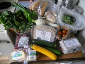 Spinach, basil, oregano, green peppers, onion, garlic, fresh hoagie rolls, fresh pizza dough, salad greens, leek, cherry tomatoes, eggs, zucchini, fresh bucatini pasta, feta and gouda cheese and beef stir fry