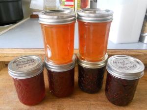 jams, strawberry rhubarb, mixed berry, plum