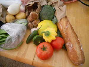 French baguette, squash, tomatoes, jalapeno pepper, broccoli, beautiful shiitake mushrooms