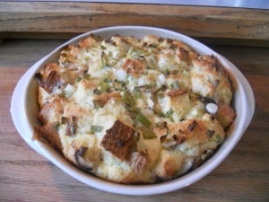 goat cheese and Shiitake strata