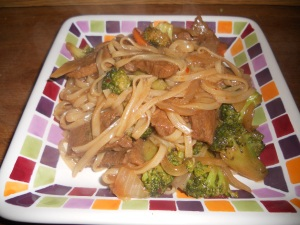 beef and broccoli with rice noodles