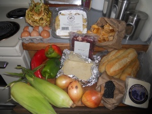 Celery root, eggs, papardelle pasta, chanterelles mushrooms, fresh hoagie rolls, black beans, Jack cheese, onions, fresh flour tortillas, beef stir-fry meat, red pepper, green bell peppers, corn