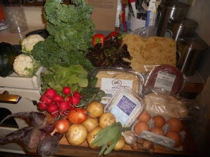 Cauliflower, kale, lettuce, focaccia, ground beef, bucatini pasta, radishes, beets, onions, potatoes, sage, garlic, shallots, eggs, pizza dough, fromage blanc, acorn squash, sweet red peppers