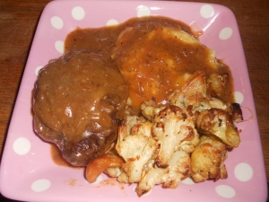 salisbury steak, onion gravy, roasted cauliflower