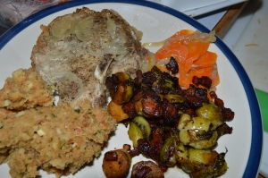 pork chops with apples brussels sprouts