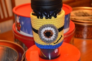 crochet minion coffee sleeve