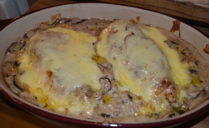 chicken fast and fancy, mushroom swiss chicken breasts