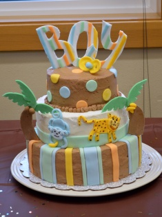 Jungle themed baby shower cake.