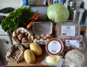 romaine lettuce, carrots, asparagus, cabbage, fresh whole wheat spaghetti, eggs, shiitake mushrooms, dried garbanzo beans, potatoes, marinara sauce, mozzarella, pizza dough and stir-fry pork