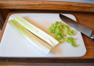 leeks slice leeks lengthwise and then into halfmoons