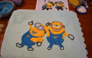 minion cake in progress