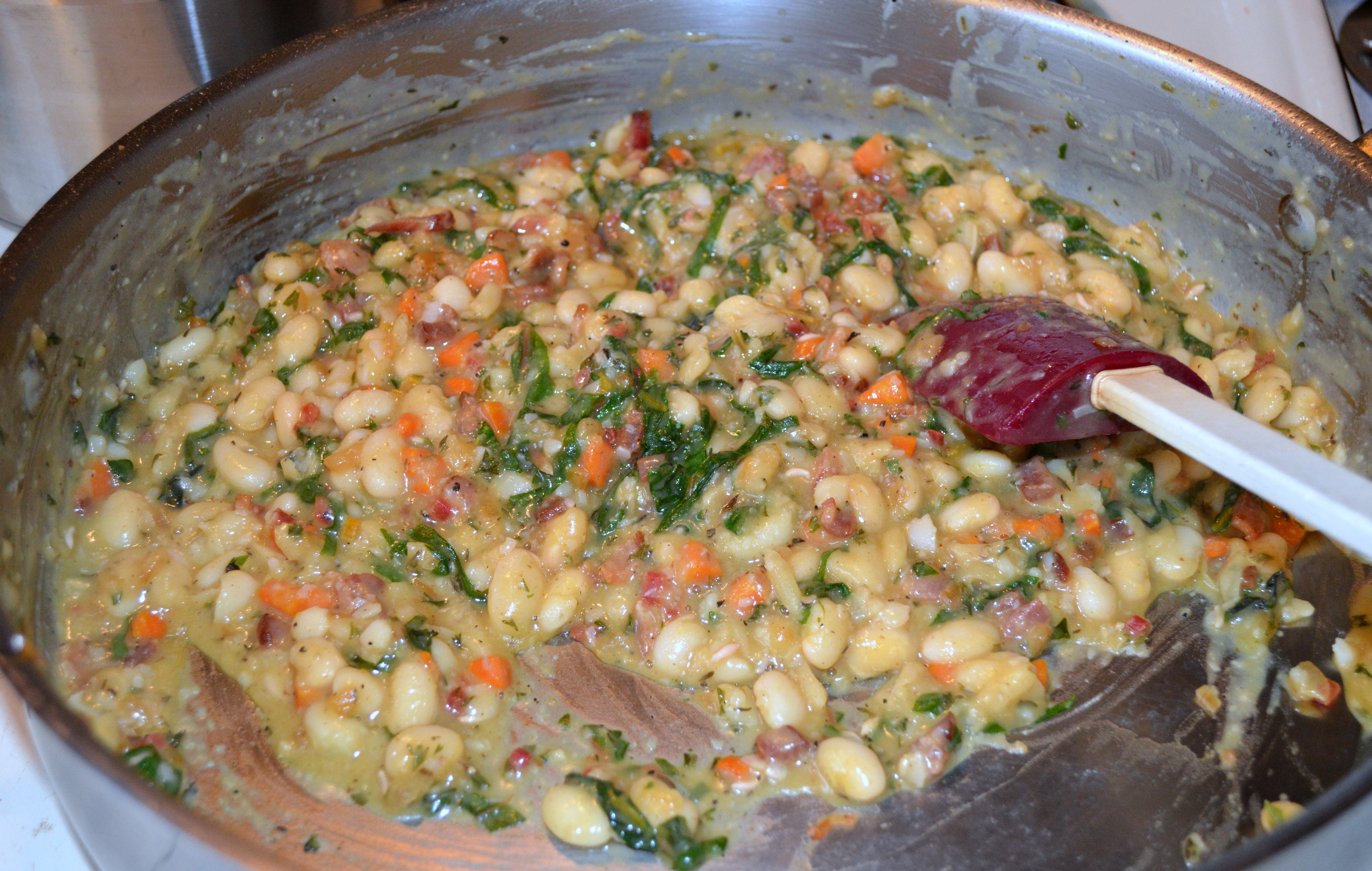 White bean and chard filling.