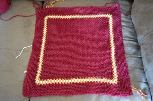 My current WIP. Another Picture Perfect baby blanket in Gryffindor school colors. Well it's supposed to be at least. I do need to finish this one by the end of the week.