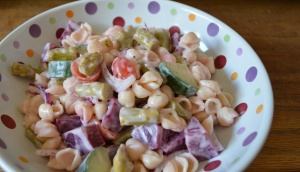 pasta salad with pickled beets and asparagus
