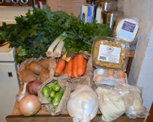 Red Russian kale, curly kale, leeks, fresh ginger, carrots, mixed herb bunch, broccoli, parsley, fromage blanc, gemelli pasta, eggs, pizza dough, half chicken, brussels sprouts, red potato, russet potatoes, onion, garlic