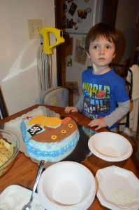 4th Birthday. Mom made him a pirate ship cake.
