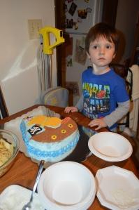 4th Birthday. Mom made him a pirate ship cake.