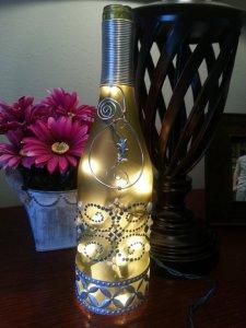 blue lighted wine bottle