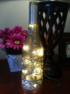 blue lighted wine bottle