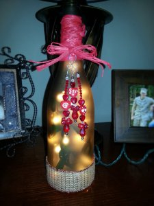 Valentines Wine Bottle with lights.