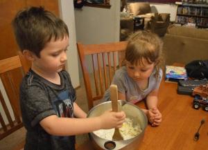 Making funfetti cake mix cookies.