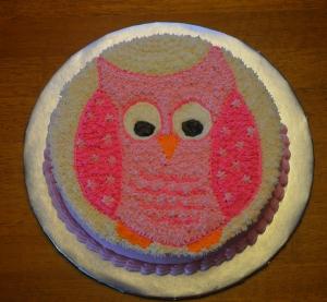 pink owl smash cake