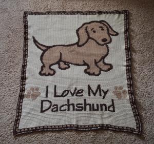 dachshund crochet word chart afghan