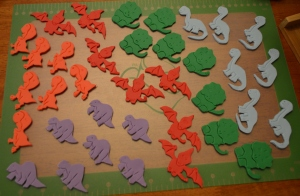 Fondant dinos waiting for finishing touches.