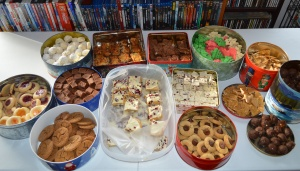 Mexican Wedding Cakes, 7 Layer Bars, Caramel Chocolate Brownies, Spritz Cookies, Fudge