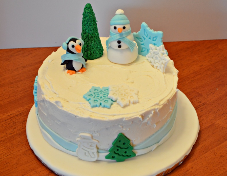 Winter Cake with Snowman and Penguin
